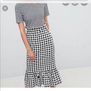 ASOS Gingham Ruffle Hem Midi Sheath Dress